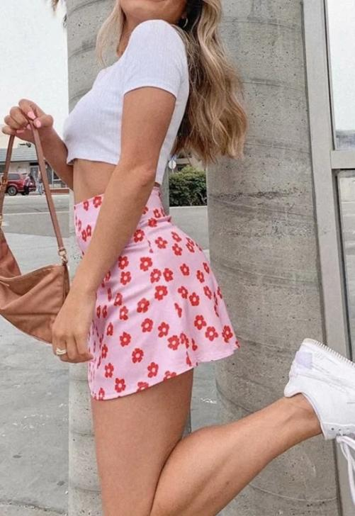 Pink Floral Mini Skirt