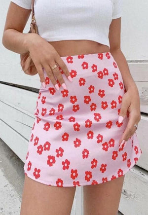 Load image into Gallery viewer, Pink Floral Mini Skirt