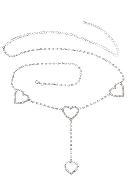 Rhinestone Heart Belt Chain
