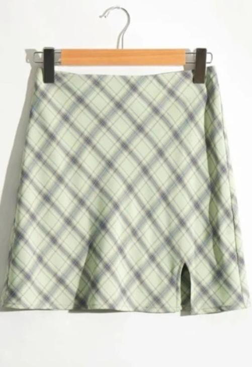 Mint Plaid Skirt