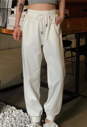 Load image into Gallery viewer, White Drawstring Sweatpants