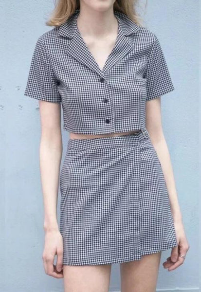 Grey Plaid Two-Piece Set