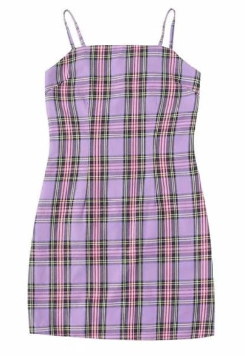 Load image into Gallery viewer, Plaid Purple Cami Dress