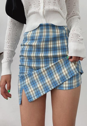 Load image into Gallery viewer, Blue Plaid Skirt