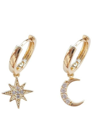 Load image into Gallery viewer, Crystal Star & Moon Hoops
