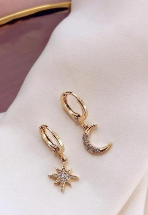 Crystal Star & Moon Hoops
