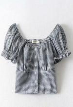 Puff Sleeve Gingham Blouse