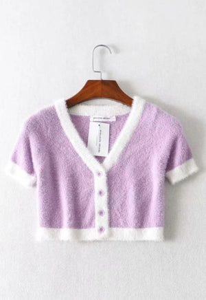Load image into Gallery viewer, Fuzzy Pastel Button Tee