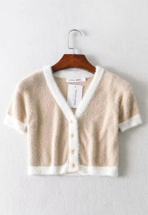 Fuzzy Pastel Button Tee