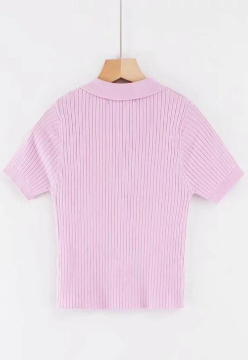 Gwen Ribbed Polo Top