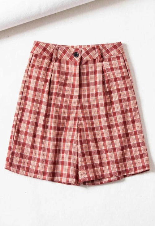 Charger l'image dans la galerie, High Rise Plaid Print Shorts