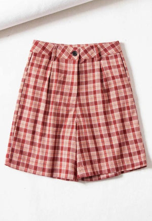 High Rise Plaid Print Shorts