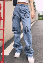 High Waisted Butterfly Denim Jeans