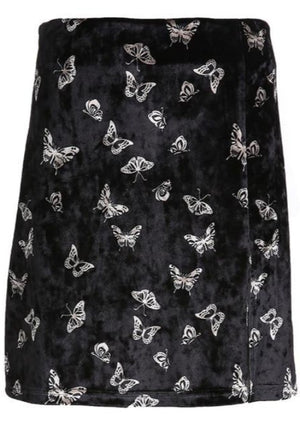 Load image into Gallery viewer, Black Velvet Butterfly Skirt