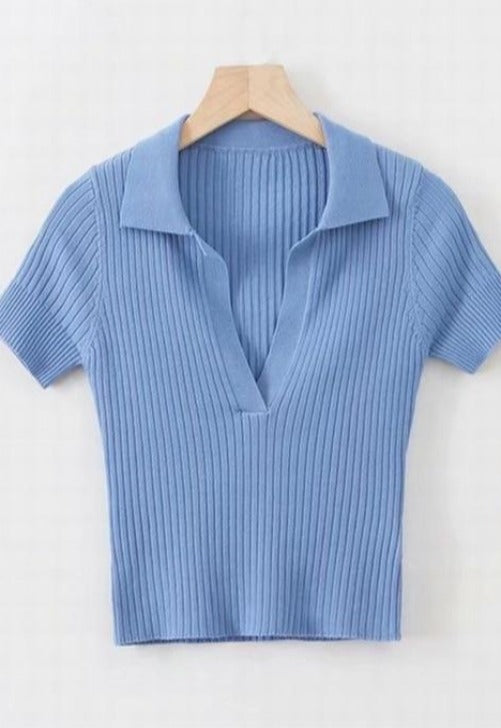 Load image into Gallery viewer, Sarah Collared V-Neck Top