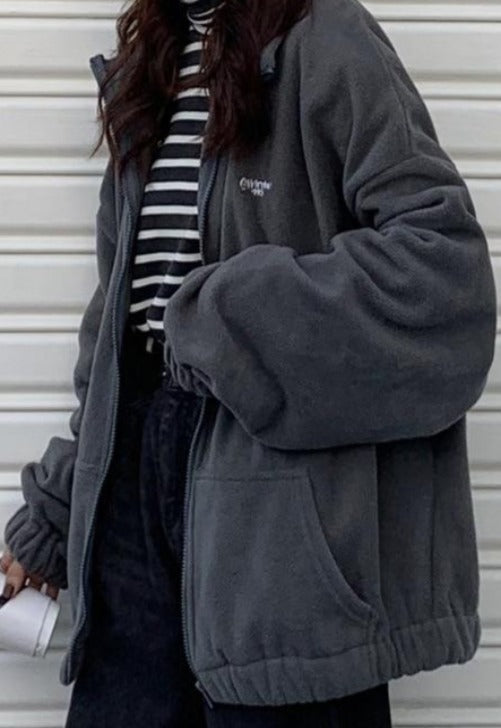 Oversized Collared Zip-Up