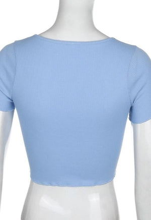 Blue Lettuce Trim Button Top