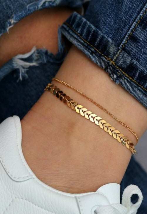 Load image into Gallery viewer, Gold Leaf Anklet