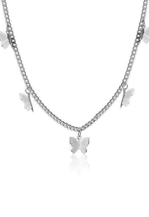 Silver Butterfly Charm Necklace
