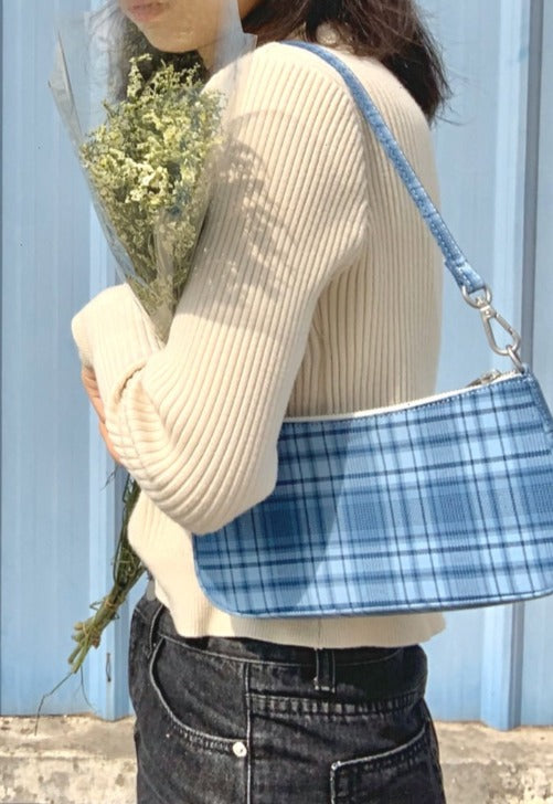 Load image into Gallery viewer, Blue Plaid Shoulder Bag