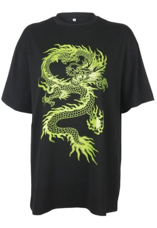 Load image into Gallery viewer, Black Dragon Oversized Graphic Tee