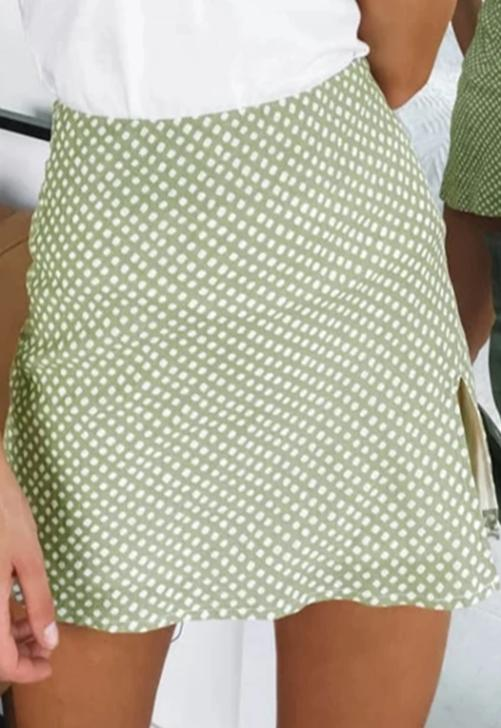 Load image into Gallery viewer, Green Dot Print Mini Skirt