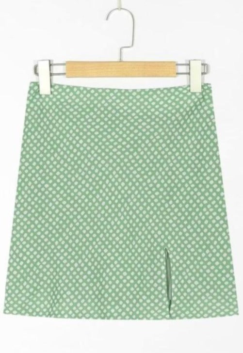 Green Dot Print Mini Skirt