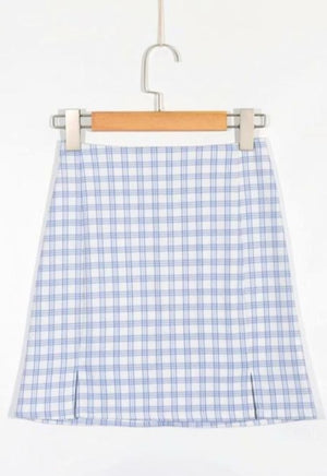 Light Blue Gingham Skirt
