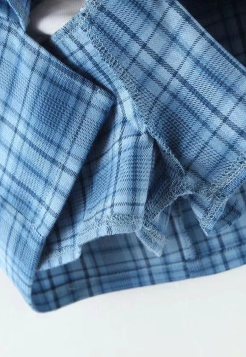 Load image into Gallery viewer, Blue Plaid Print Skirt