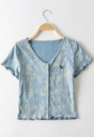 Butterfly Acid Wash Top