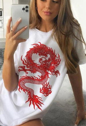Red Oversized Dragon Tee