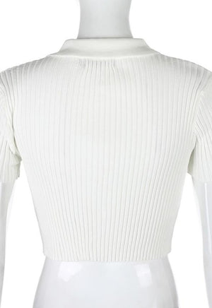 Ribbed Polo Top