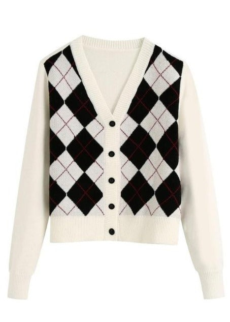 Load image into Gallery viewer, Argyle Print Cardigan