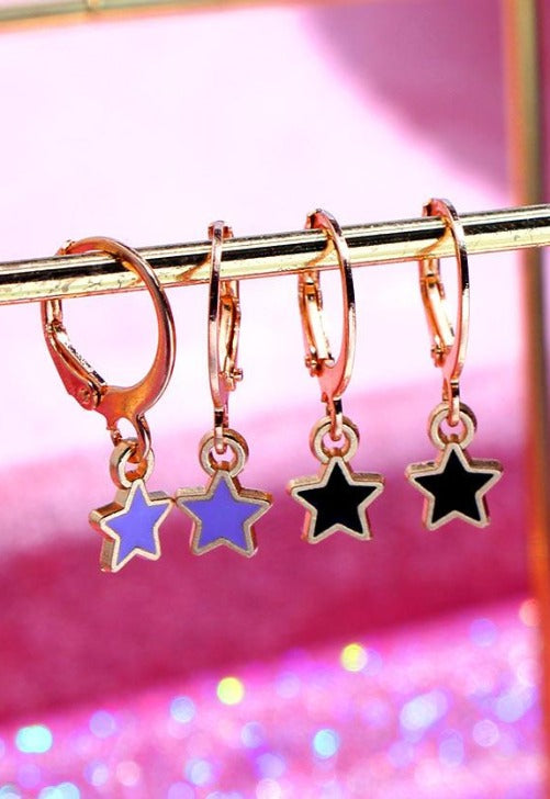 Gold Star Colored Mini Hoops