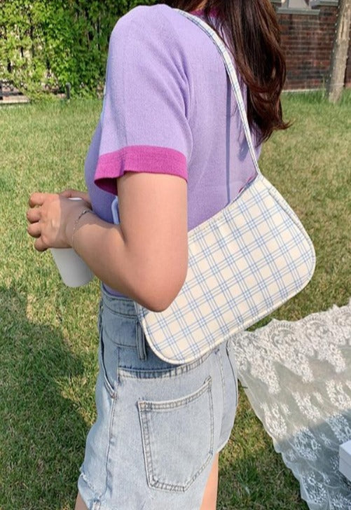 Plaid Baguette Chain Bag