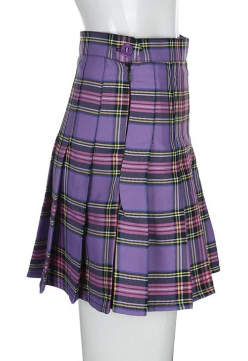 Lilac Plaid Pleated Skirt
