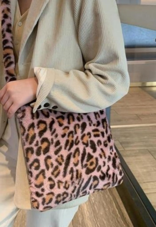 Fuzzy Leopard Shoulder Bag