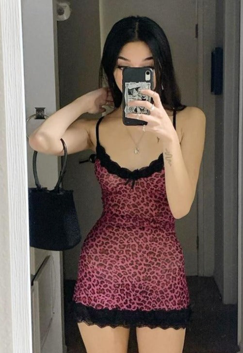 Pink Cheetah Slip Dress