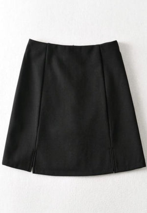 Ribbed Slit Mini Skirt