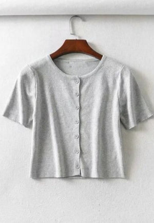 Short Sleeve Button Cardigan