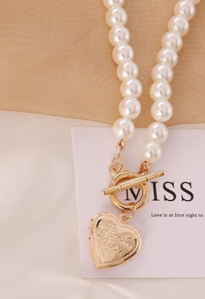Heart Locket Pearl Necklace
