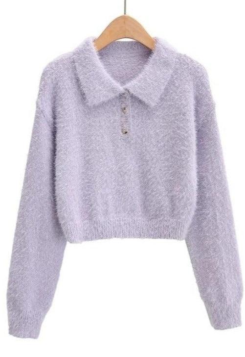 Fuzzy Collar Cropped Sweater