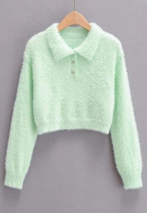Load image into Gallery viewer, Fuzzy Collar Cropped Sweater