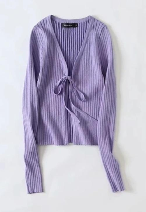 Load image into Gallery viewer, Ribbed Tie Cardigan