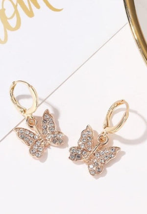 Load image into Gallery viewer, Crystal Butterfly Mini Hoops