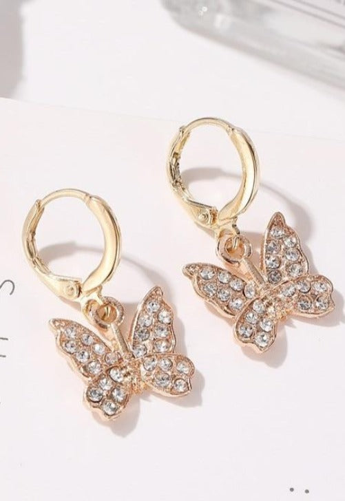Crystal Butterfly Mini Hoops