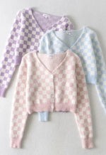 Fuzzy Checkered Pastel Cardigan