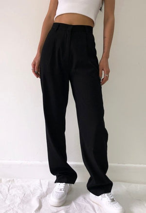 Laden Sie das Bild in den Galerie-Viewer, Ava Black High-Waisted Trousers