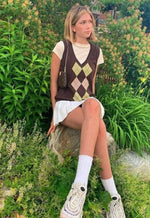 Brown Argyle V-Neck Vest