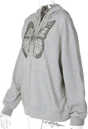 Oversized Grey Butterfly Rhinestone Jacket